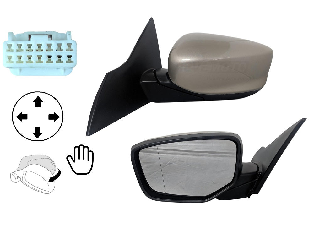 Passenger Side Mirror for HONDA ACCORD SDN 13 PWR N-HT W//O SGL MIR+COVER RH Parts Link #: 76208-T2F-A01+76201-T2F-A11ZE PTM | Right Outside Rear View Mirror OE: HO1321272