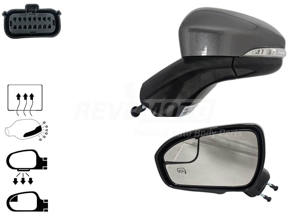 2015-2016 Ford Fusion Driver Side Power Door Mirror (Heated; Power Folding; w-Turn Signal; w- Puddle Lamp; w- Memory; w-o Blind Spot Detection; w-o Auto Dimming) FO1320509