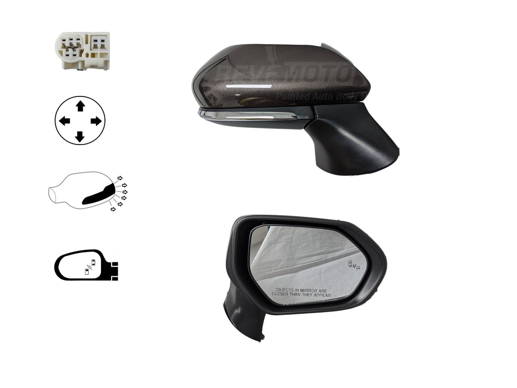 2018-2019 Toyota Camry Mirror (Driver Side) USA/Japan Built; Power; w/o Turn Signal Hole; w/o Blindspot Detection; Flat Glass; TO1320366; 8794006800