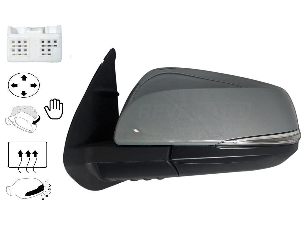 2016-2019 Toyota Tacoma Mirror (Driver Side); Pick-up; 2WD/4WD; Power; Manual Folding; Heated; w/ Turn Signal Light; w/o Blind Spot Detection; Flat Glass; TO1320349; 8794004240