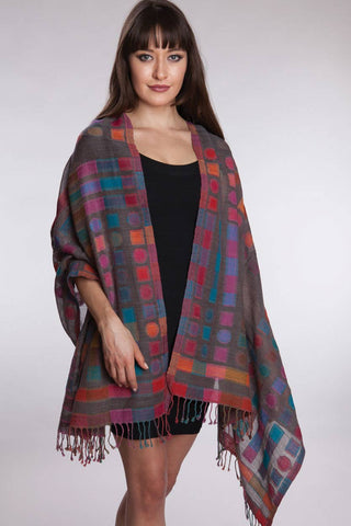 Kalya Wool & Cotton Shawl Geometric