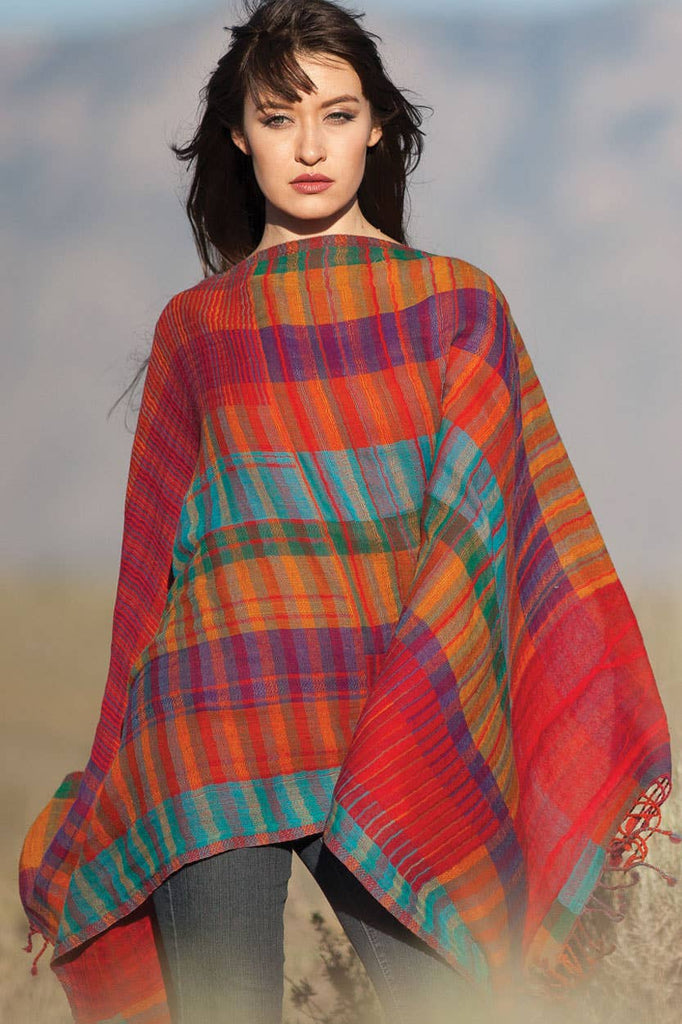 Kalya Wool & Cotton Shawl II Multi Plaid
