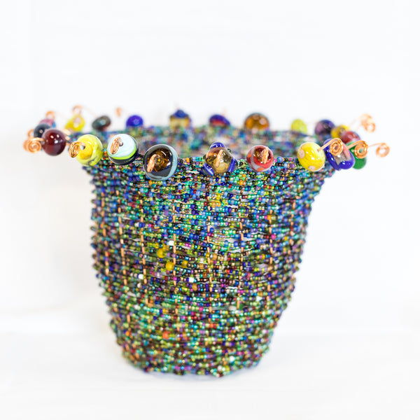 Woven Glass Bead Basket