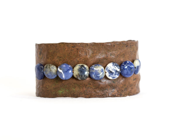 Pounded Copper Bracelet with Sodalite Beads