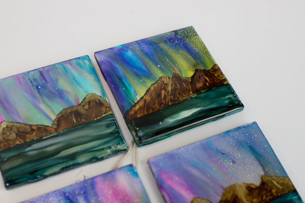 """Northern Lights"" Alcohol Ink Coasters"