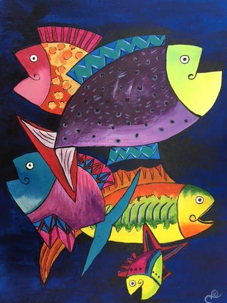 Colorful Grounds Canvas Painting Party: Jazzy Fish