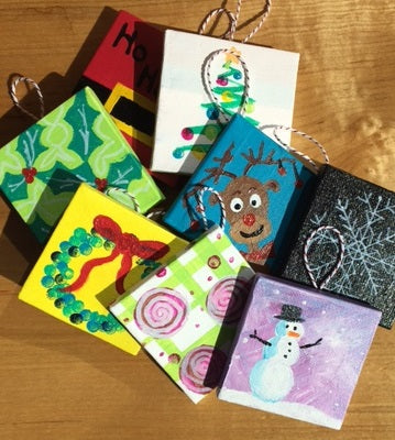 Colorful Grounds Walk In Wednesday: Mini Canvas Christmas Ornaments