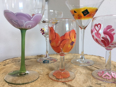 Colorful Grounds Wine Glass Painting