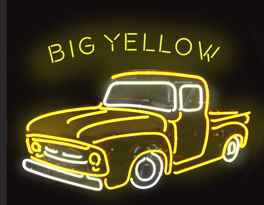Big Yellow Car Neon Sign Glass Tube Neon Light