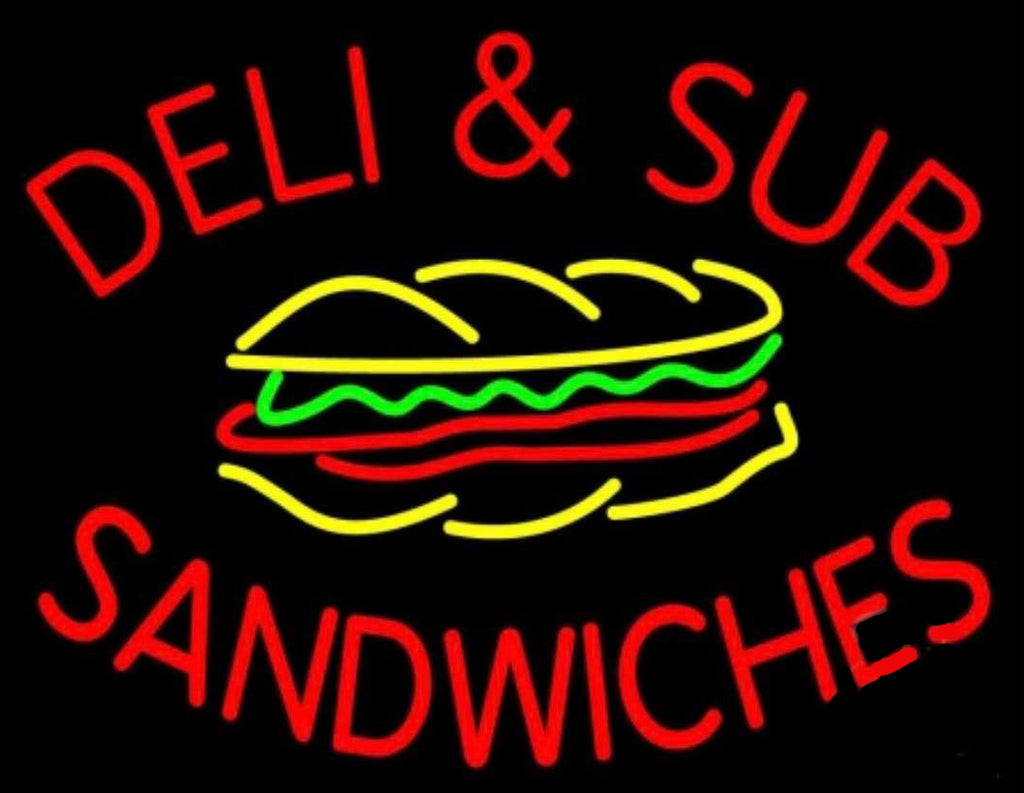 Deli and Sub Sandwiches Neon Sign Real Neon Light