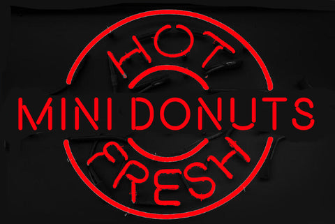 Hot  Fresh Mini Donuts Neon Sign Real Neon Light