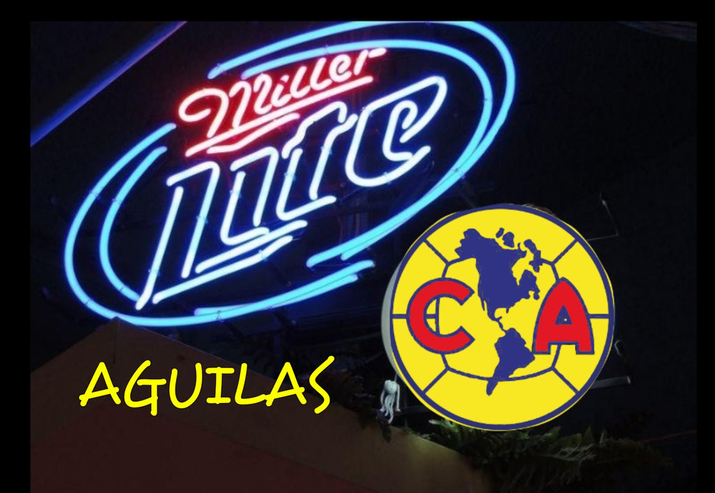 Club América Miller Lite Aguilas Neon Sign Real Neon Light