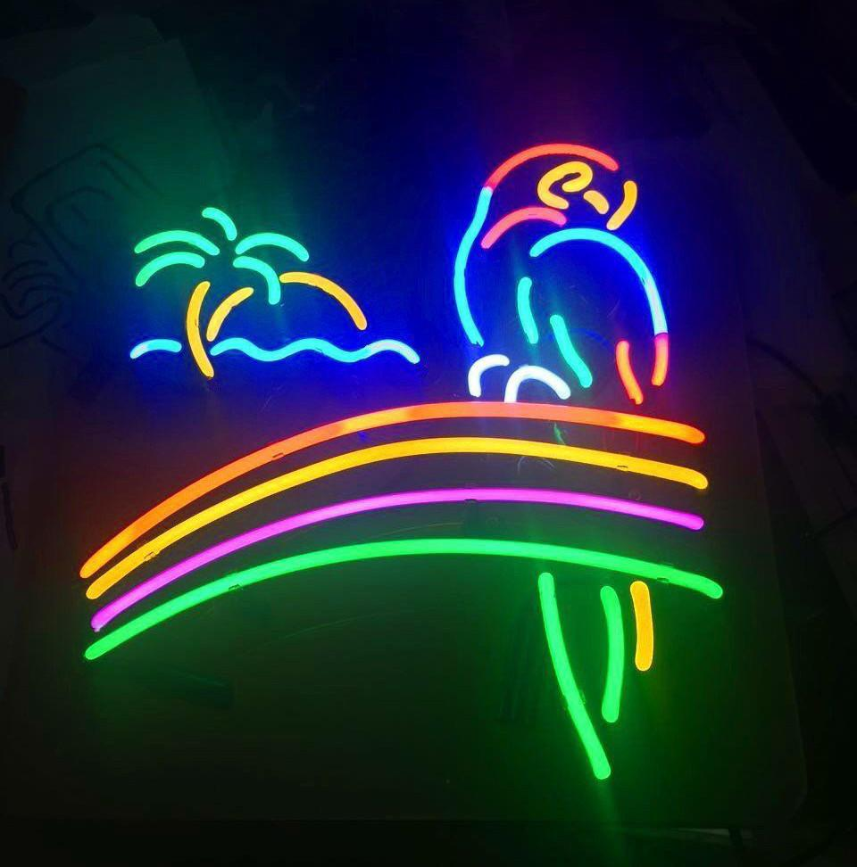 Neon Signs For Sale >> Parrot Palm Tree Railbow Beer Neon Sign For Sale Hanto Neon Sign