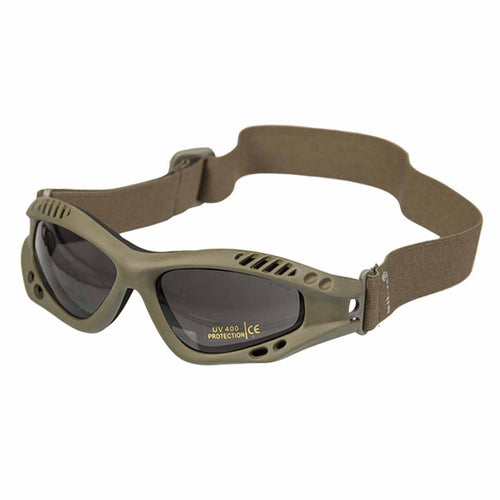 Mil-Tec Commando Goggles Air Pro Smoke Lens Olive Frame Front
