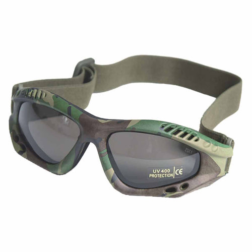 Mil-Tec Commando Goggles Air Pro Smoke Lens Woodland Frame Front