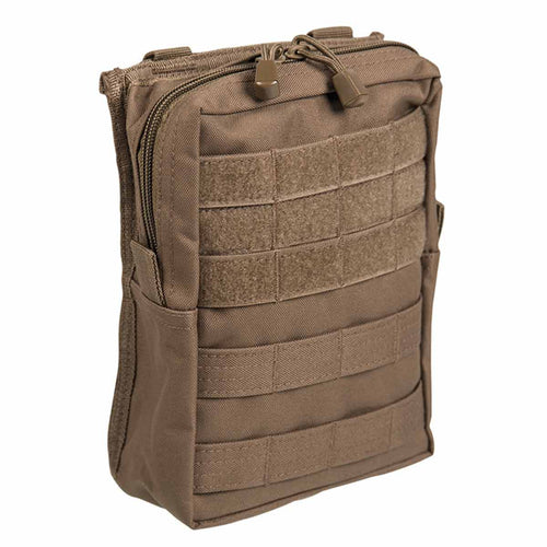 Mil-Tec Large Zipped MOLLE Belt Pouch Dark Coyote Front