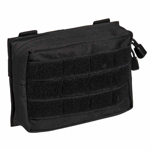 Mil-Tec Small Zipped MOLLE Belt Pouch Black Front