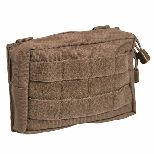 Mil-Tec Small Zipped MOLLE Belt Pouch Dark Coyote Front
