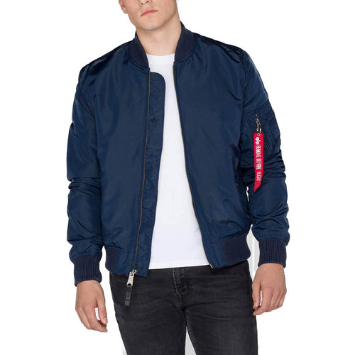 alpha industries slim fit ma1 tt flight jacket rep blue