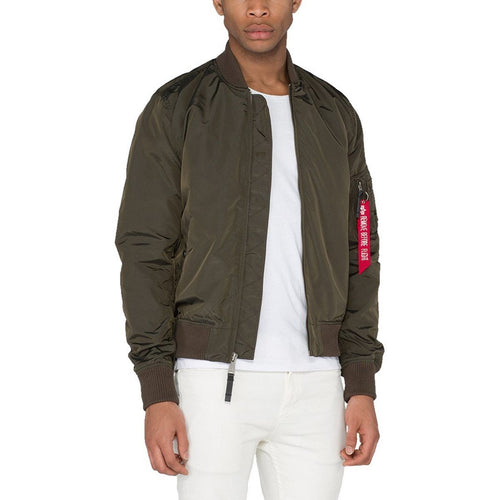 alpha industries rep grey slim fit ma1 tt flight jacket