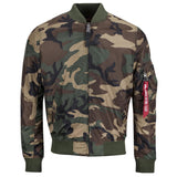 front of alpha ma1 tt slim fit bomber jacket woodland camo