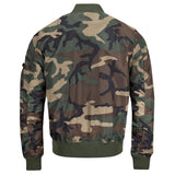 rear of woodland camo alpha ma1 tt bomber jacket