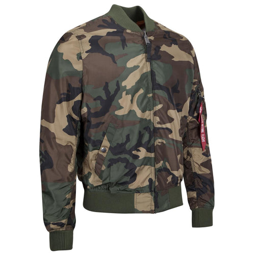 alpha industries ma1 tt slim fit flight jacket woodland camo