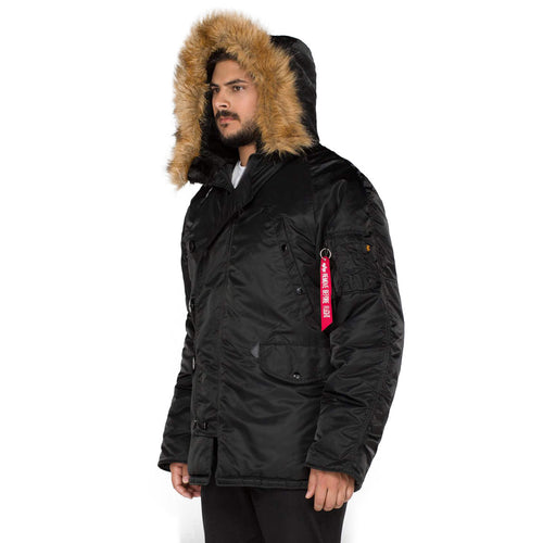 zipped up front of black alpha n3b parka