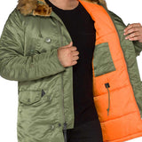 orange lining in alpha n3b parka vf 59 green