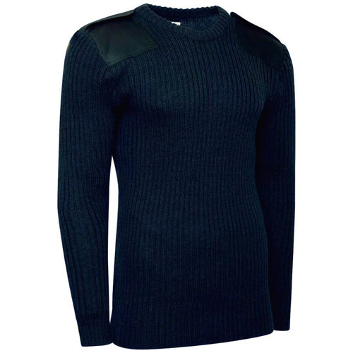 navy blue army crew neck jumper front