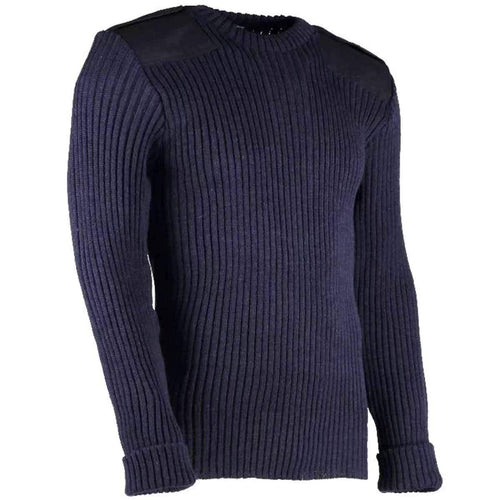 army wool commando jumper with epaulettes navy
