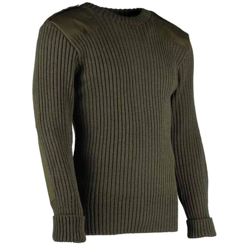 army wool commando jumper with epaulettes olive green