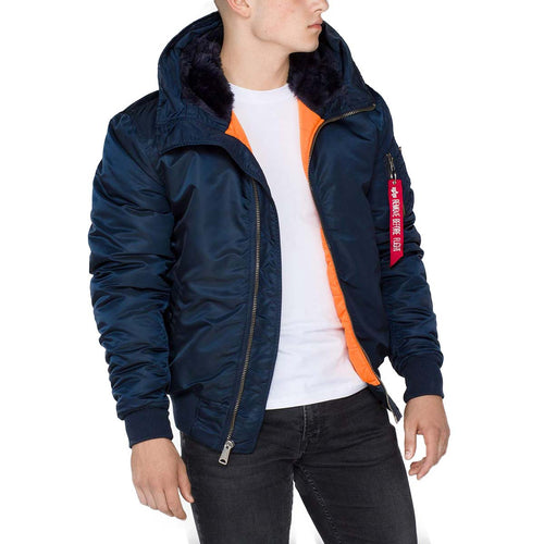 alpha industries ma1 hooded bomber jacket replica blue