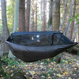 dd frontline hammock coyote brown hung outdoors