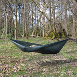 olive green dd superlight hammock hanging outdoors