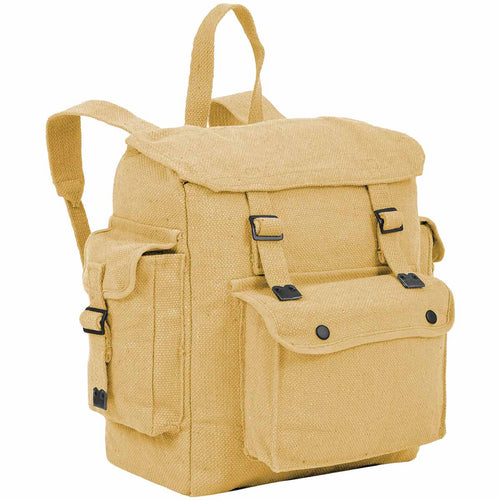 highlander beige canvas webbing backpack
