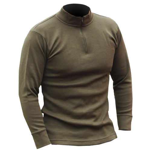 italian olive green thermal zipped shirt