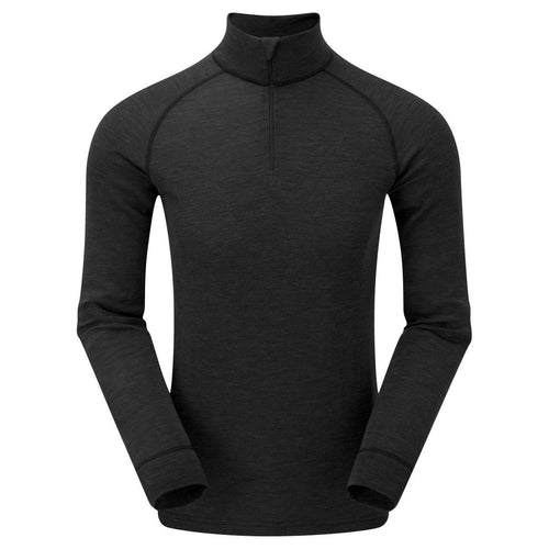 keela mens merino wool black base layer top