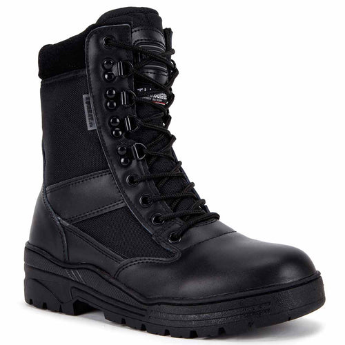 kombat black half leather patrol boots
