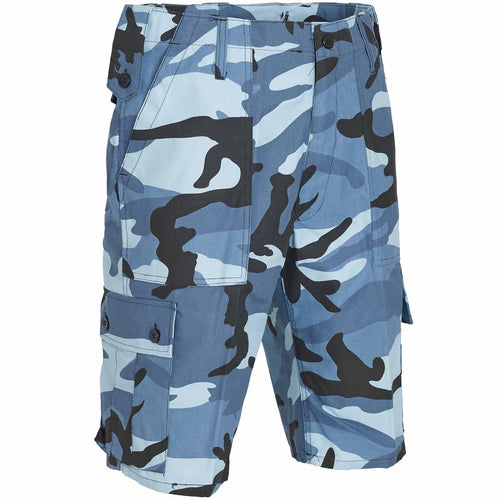 military combat shorts midnight blue camo front