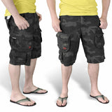 surplus raw vintage black camo trooper shorts being worn