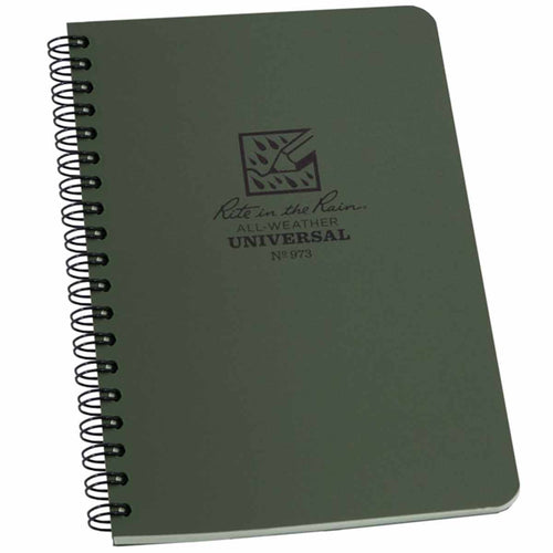 rite in the rain side spiral notebook green 4 5/8