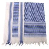 White / Blue Shemagh Head Scarf Folded