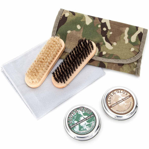 brown boot polishing kit with camo pouch