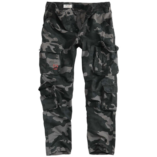 surplus airborne slim fit cargo trousers black camo