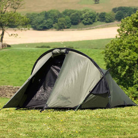 snugpak scorpion 2 man tent pitched on grass
