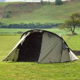 snugpak scorpion 3 man tent pitched on grass