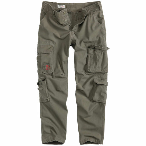 surplus airborne slim fit cargo trousers olive green