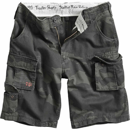 surplus raw vintage black camo trooper shorts front view
