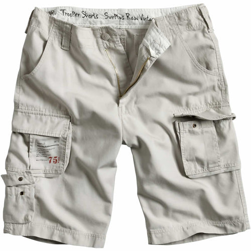 surplus raw vintage white trooper shorts front view